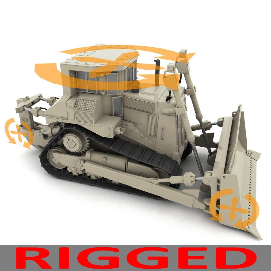 Rigged Bulldozer royalty-free 3d model - Preview no. 6