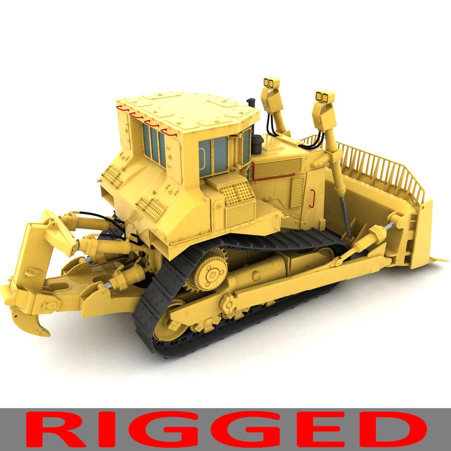 Rigged Bulldozer royalty-free 3d model - Preview no. 5