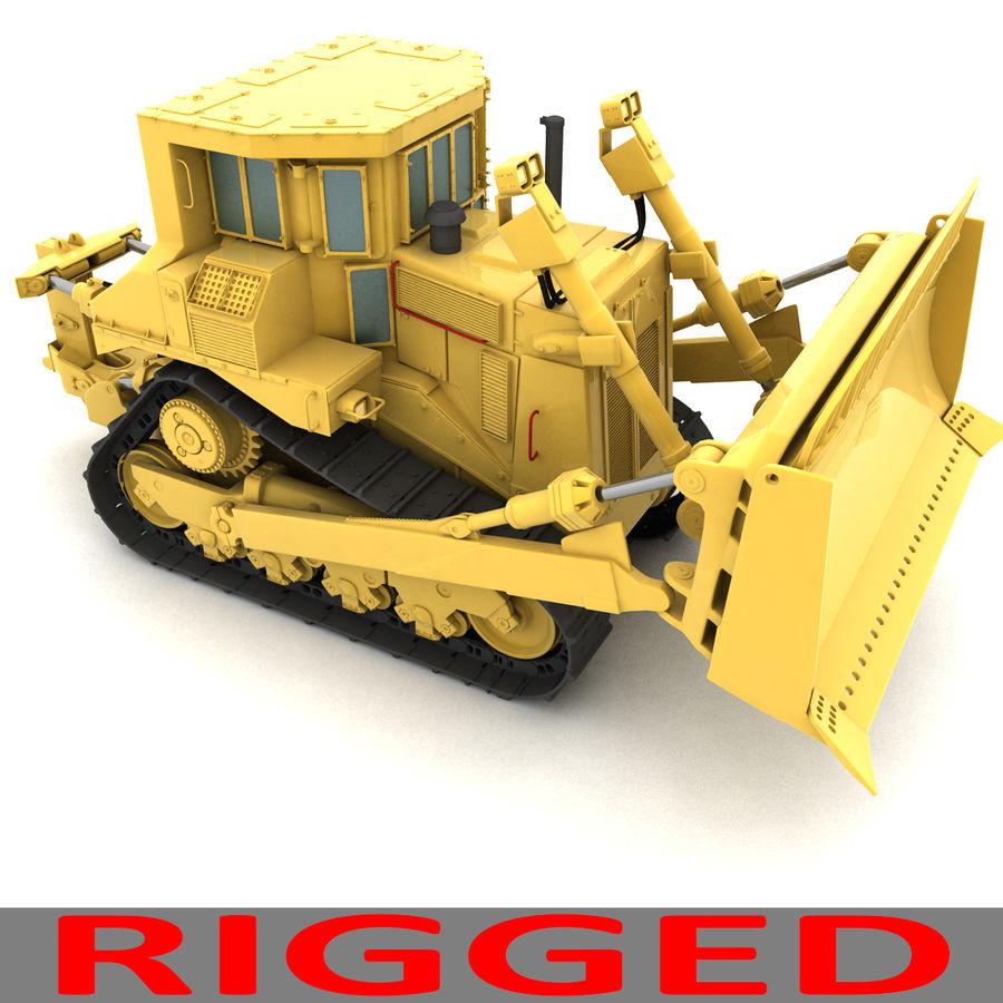 Rigged Bulldozer royalty-free 3d model - Preview no. 8