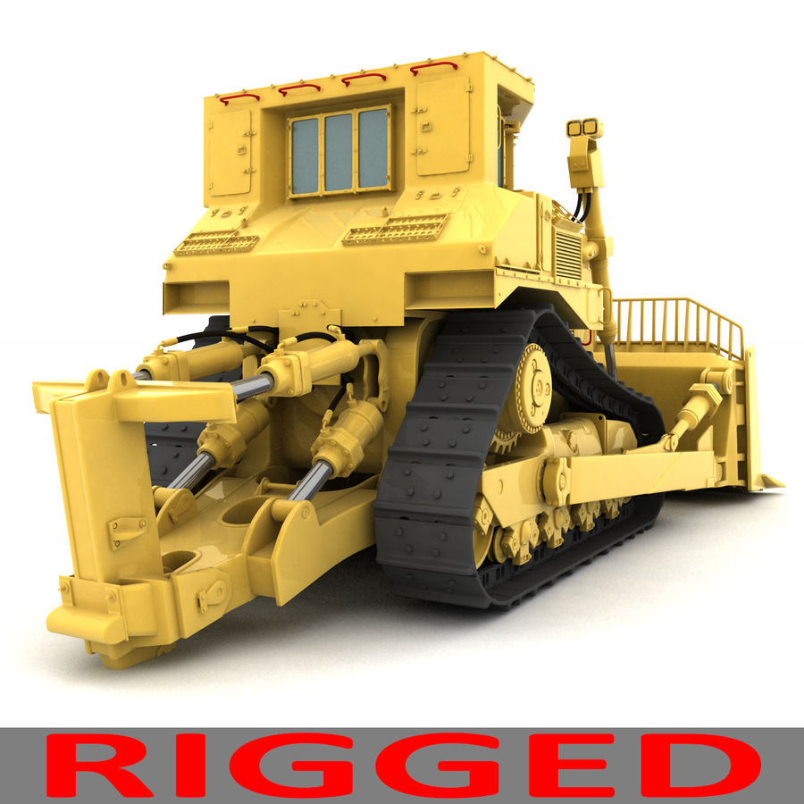 Rigged Bulldozer royalty-free 3d model - Preview no. 9
