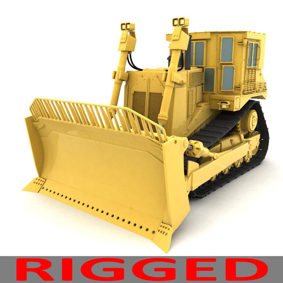 Rigged Bulldozer royalty-free 3d model - Preview no. 7