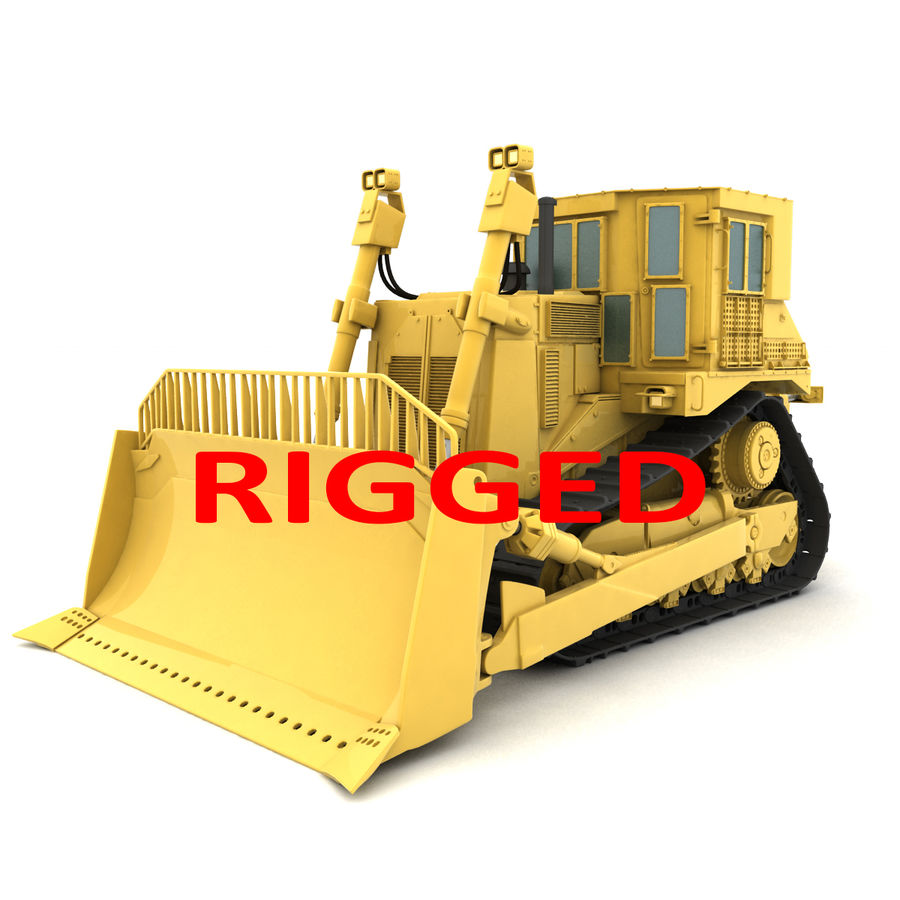 Rigged Bulldozer royalty-free 3d model - Preview no. 1