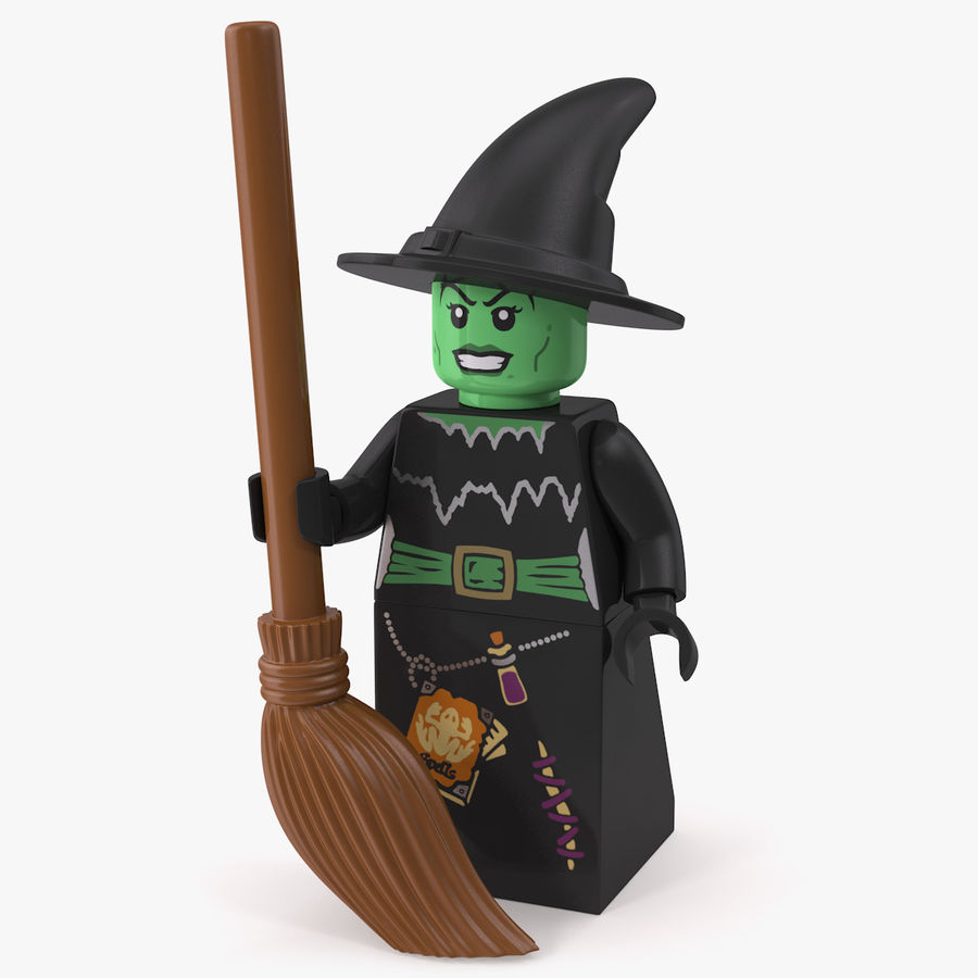 LEGO Green Witch Minifigure Figure /& Broom Purple Outfit  Halloween