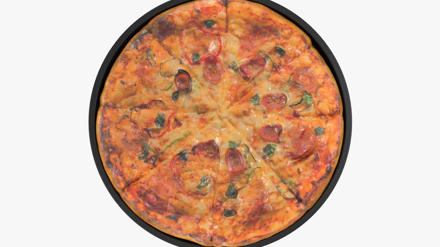 Pepperoni Pizza royalty-free 3d model - Preview no. 6