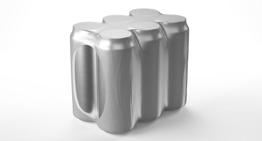 Six Pack of Cans royalty-free 3d model - Preview no. 8