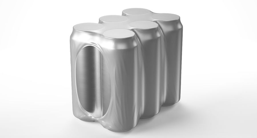 Six Pack of Cans royalty-free 3d model - Preview no. 6