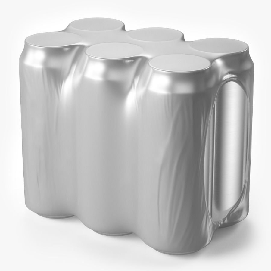 Six Pack of Cans royalty-free 3d model - Preview no. 1