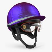 Jockeys, die Sturzhelm mit Schutzbrillen laufen 3d model