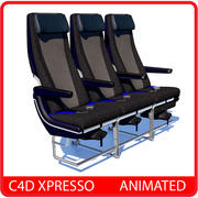 Airplane Economy Seat - Animated C4D xpresso 3d model