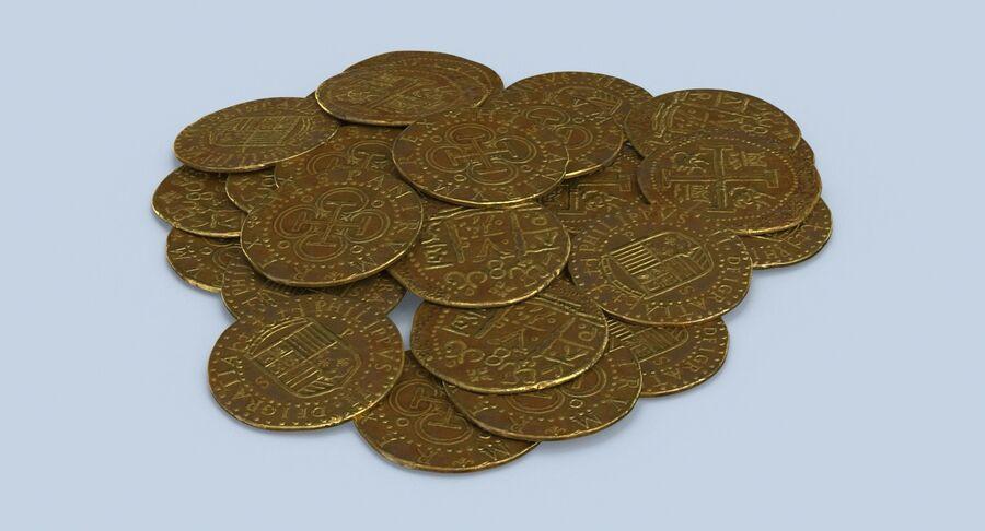 Goldmünzen Dirty Pile royalty-free 3d model - Preview no. 6