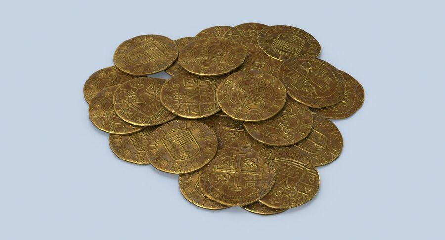 Goldmünzen Dirty Pile royalty-free 3d model - Preview no. 4