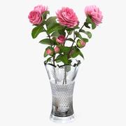 Bukiet Camellia Pink w wazonie Model 3D 3d model