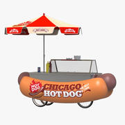 Grappige hotdogkar 3d model