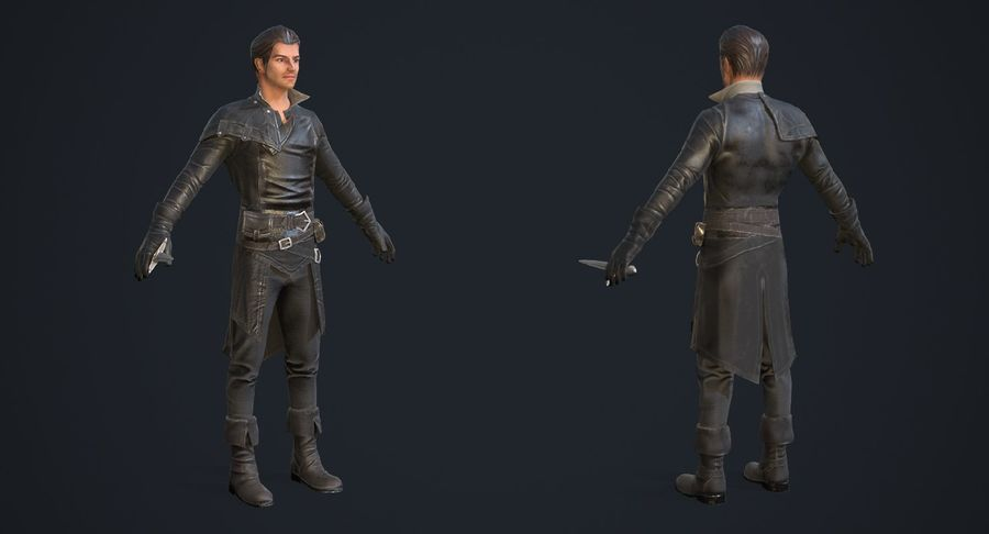 Rogue Hero Rigged Hero royalty-free 3d model - Preview no. 4