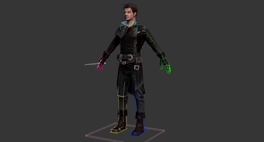 Rogue Hero Rigged Hero royalty-free 3d model - Preview no. 14