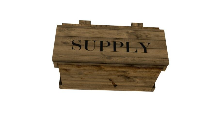 Wooden Supply Chest royalty-free 3d model - Preview no. 2