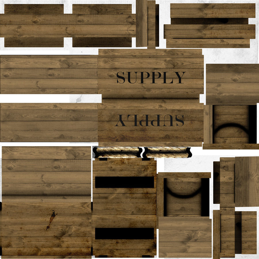 Wooden Supply Chest royalty-free 3d model - Preview no. 7