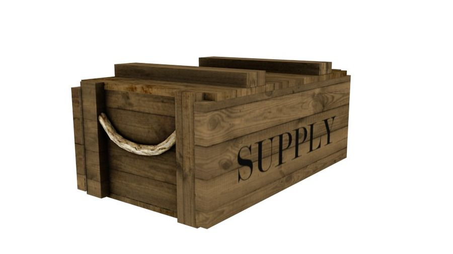 Wooden Supply Chest royalty-free 3d model - Preview no. 3