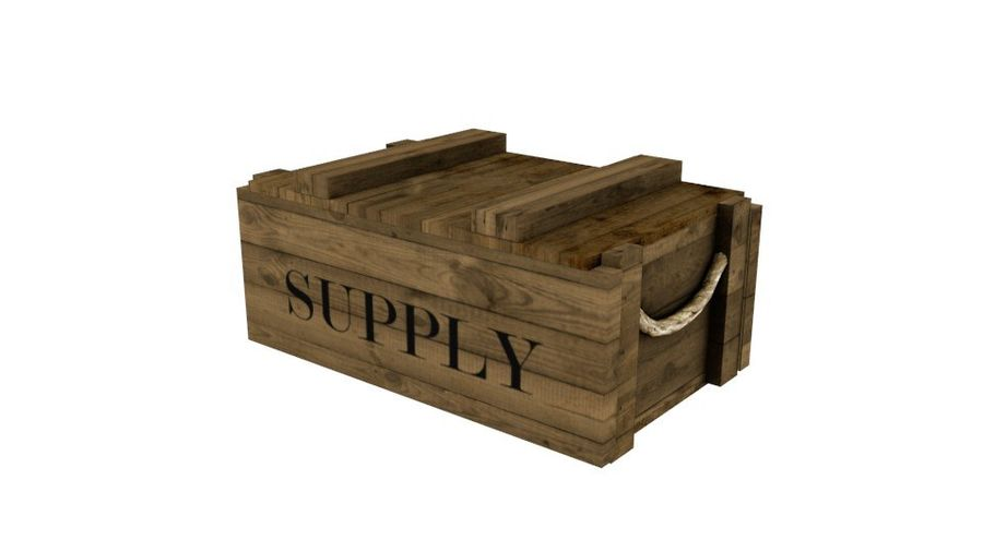 Wooden Supply Chest royalty-free 3d model - Preview no. 1