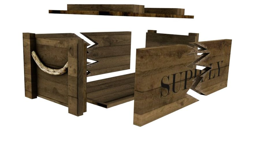 Wooden Supply Chest royalty-free 3d model - Preview no. 6