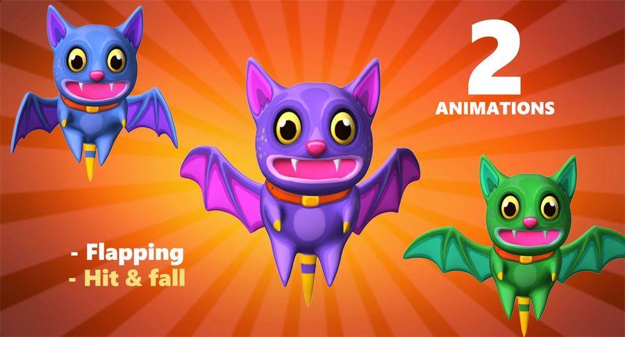 Fledermaus Katze royalty-free 3d model - Preview no. 2