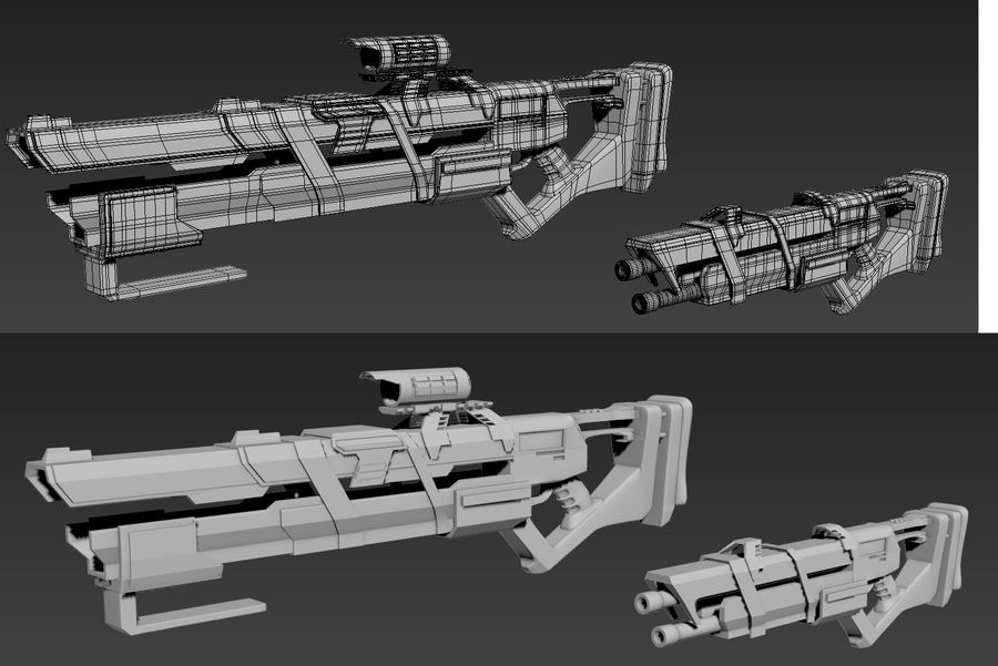 Futurystyczne pistolety royalty-free 3d model - Preview no. 1