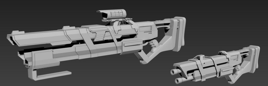 Futurystyczne pistolety royalty-free 3d model - Preview no. 2