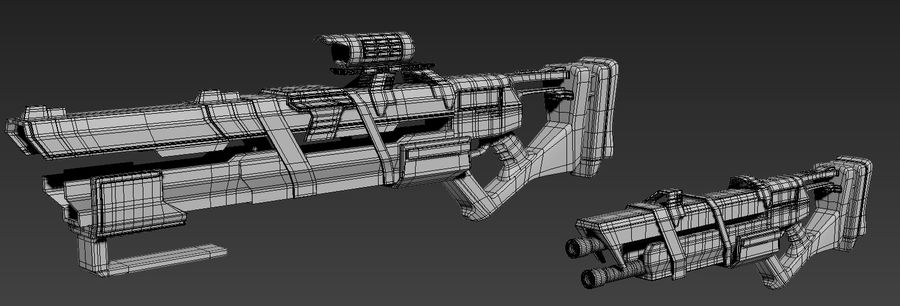 Futurystyczne pistolety royalty-free 3d model - Preview no. 3