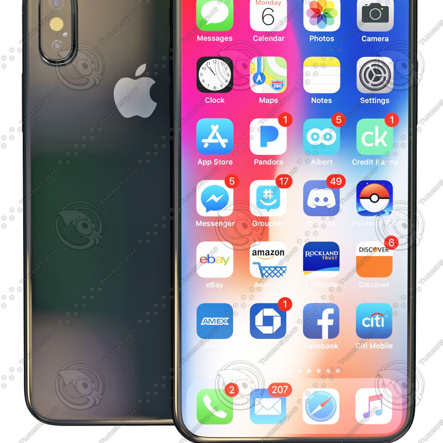 iPhoneX royalty-free 3d model - Preview no. 1