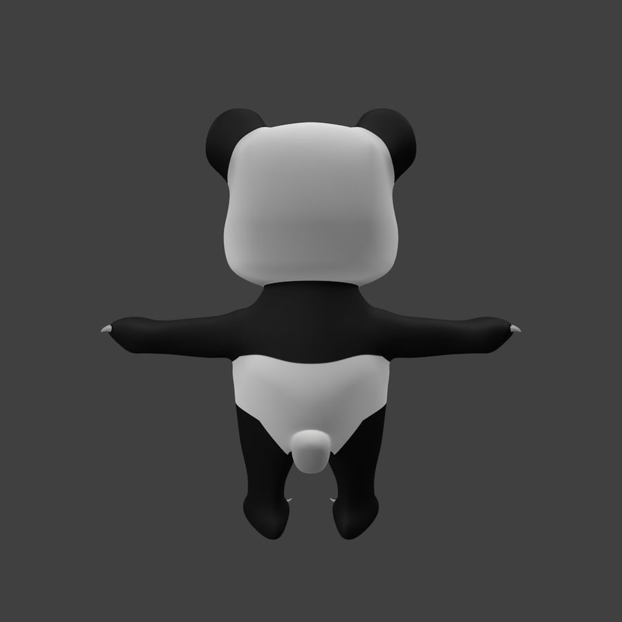 Urso panda bonito royalty-free 3d model - Preview no. 5