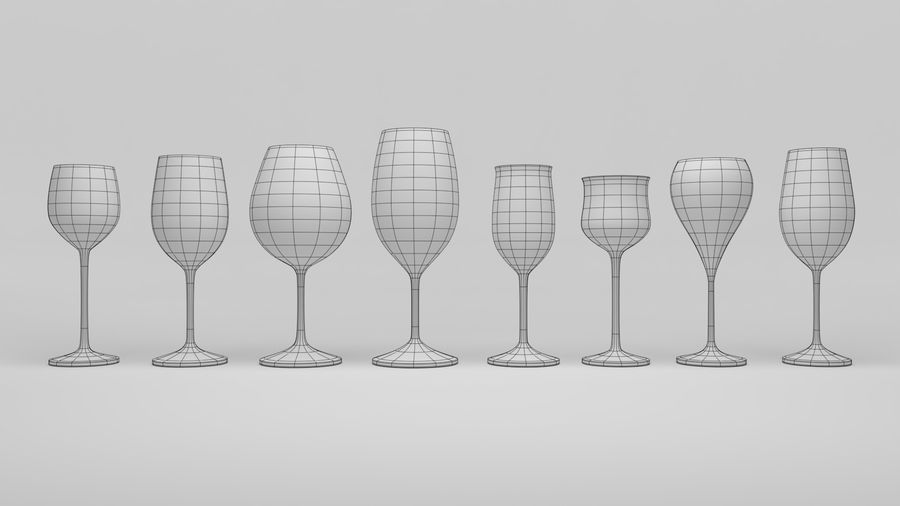 wijn bekers (1) royalty-free 3d model - Preview no. 10