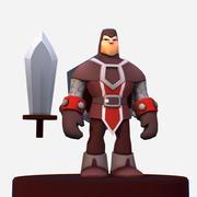 Personaggio MMO Cartoon Knight Handpaint 3d model
