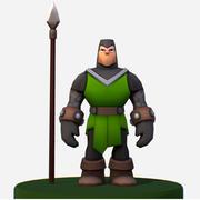 Personaggio medievale Footman del fumetto di Handpaint 3d model