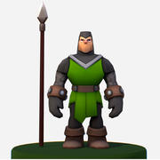 Handpaint Cartoon Medieval Footman Character 3d model