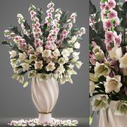 花チューリップと桜の花束 3d model