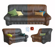 Sofa and armchair vintage leather 3d model