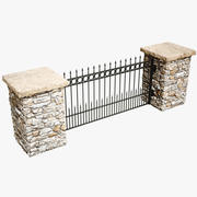 Stone Column and Fence 3d model