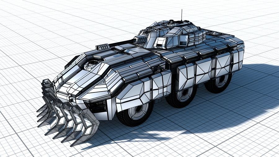 Sci-fi Armored Fighting Vehicle royalty-free 3d model - Preview no. 5