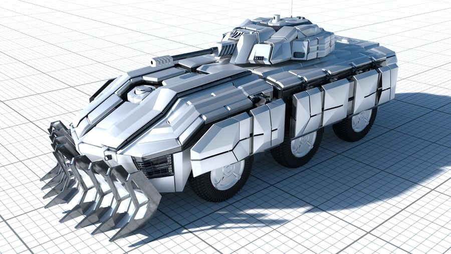 Sci-fi Armored Fighting Vehicle royalty-free 3d model - Preview no. 2