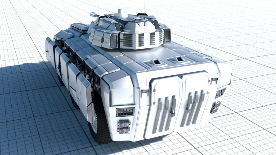 Sci-fi Armored Fighting Vehicle royalty-free 3d model - Preview no. 3