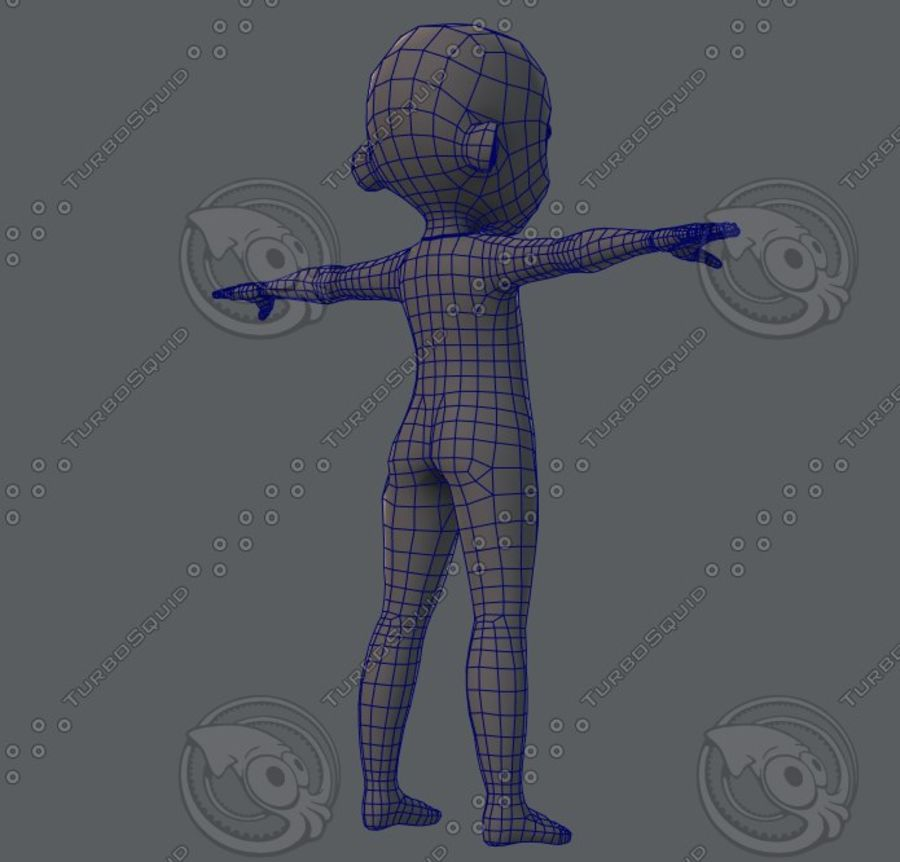 Base mesh boy character royalty-free 3d model - Preview no. 36