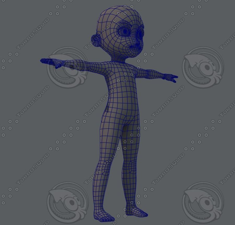 Base mesh boy character royalty-free 3d model - Preview no. 18
