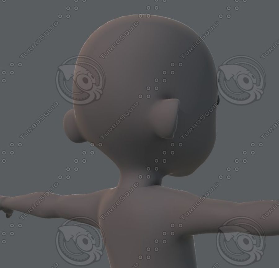 Base mesh boy character royalty-free 3d model - Preview no. 44