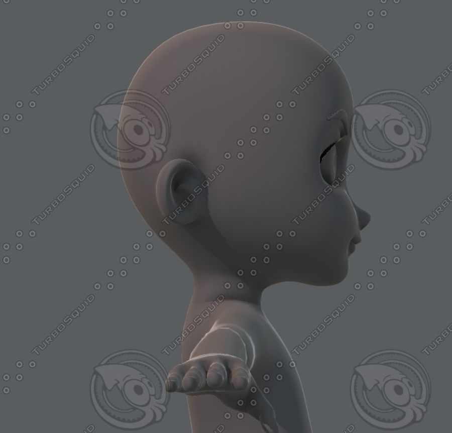 Base mesh boy character royalty-free 3d model - Preview no. 43