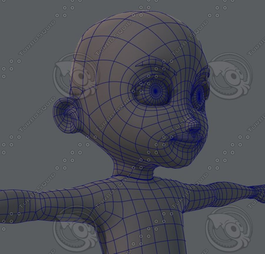 Base mesh boy character royalty-free 3d model - Preview no. 50