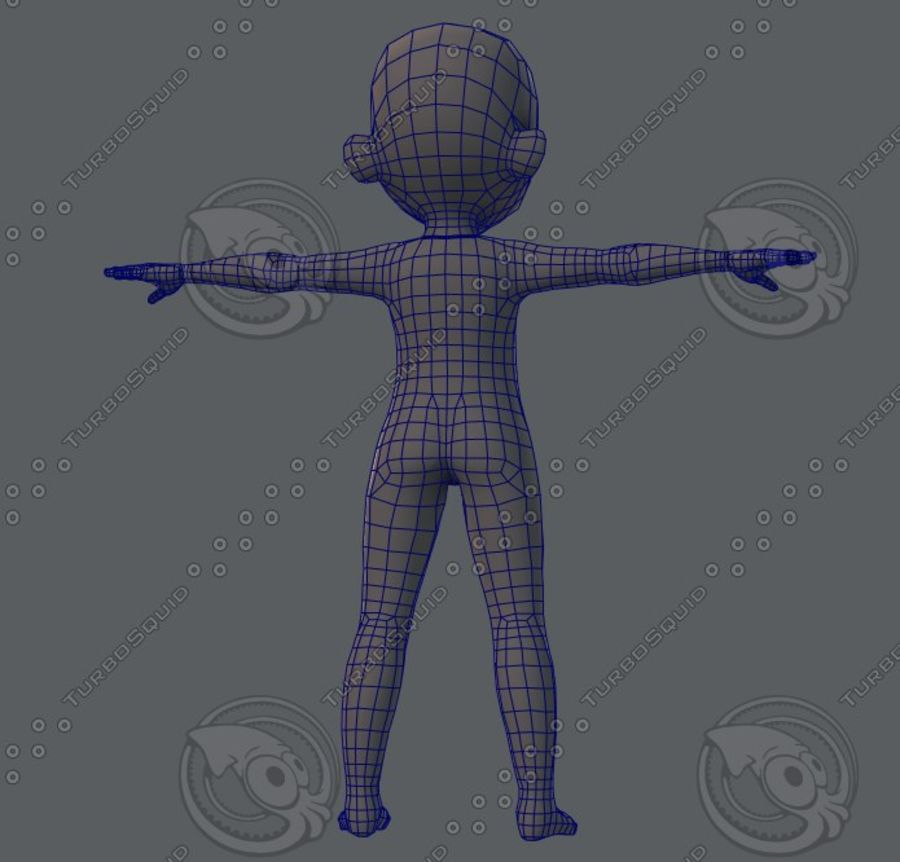 Base mesh boy character royalty-free 3d model - Preview no. 37