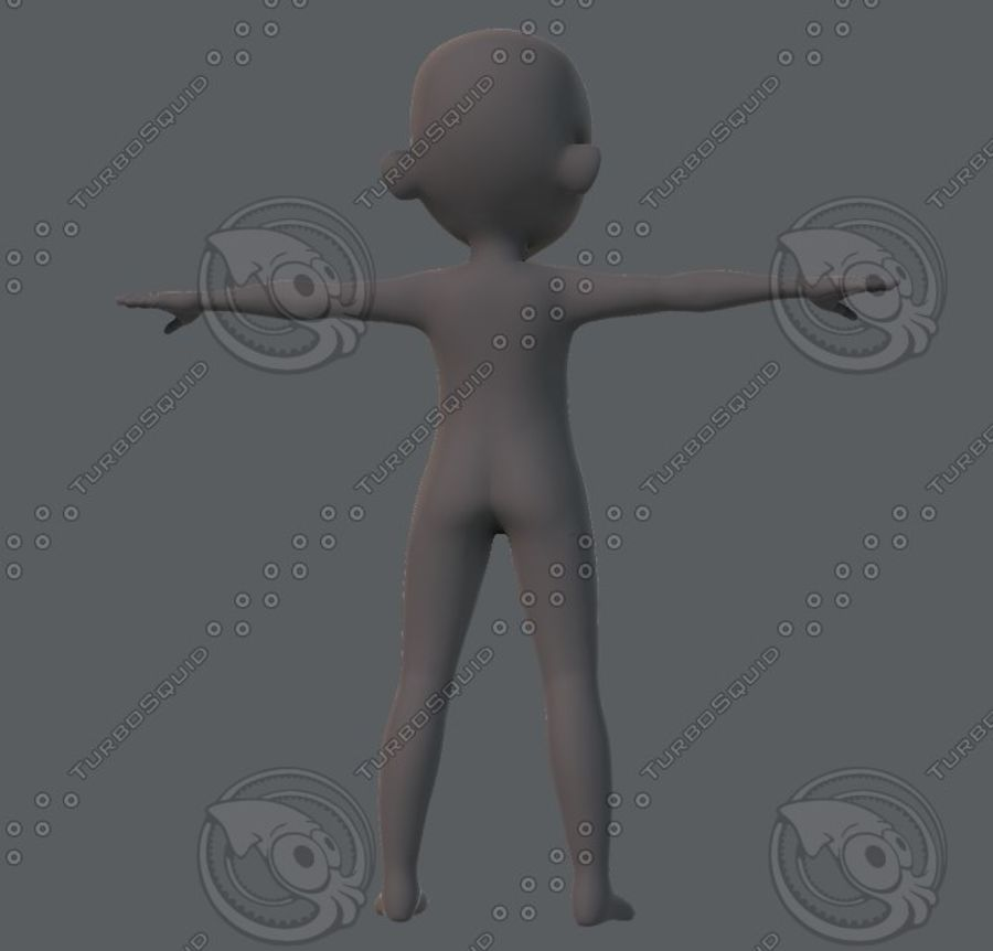 Base mesh boy character royalty-free 3d model - Preview no. 13