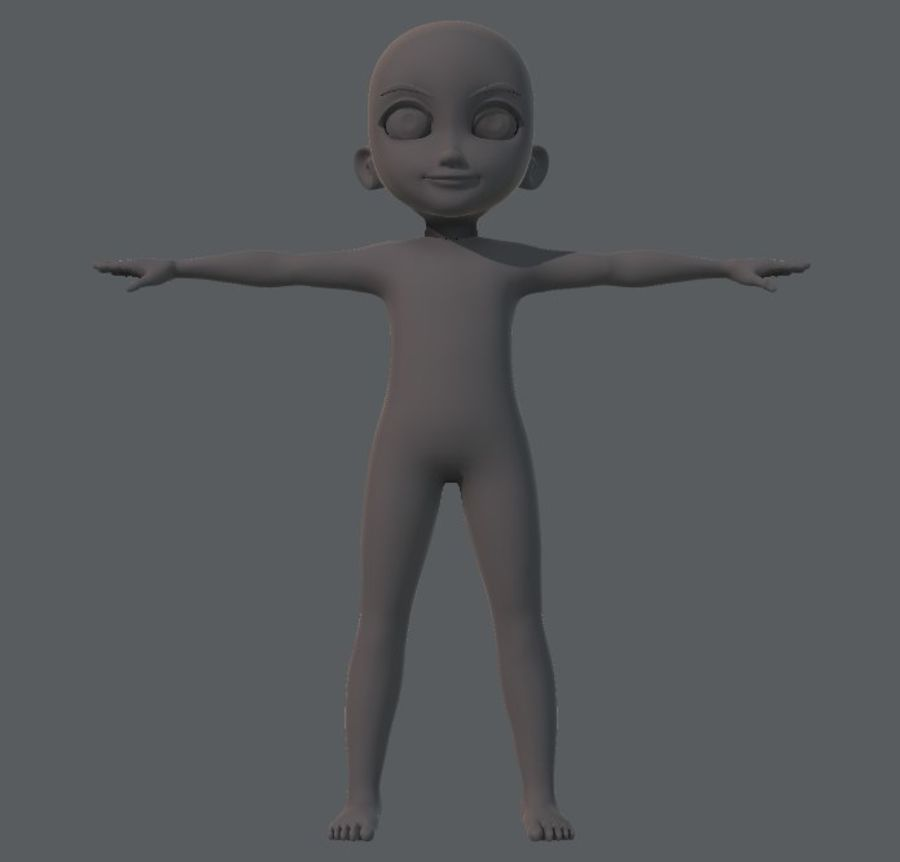 Base mesh boy character royalty-free 3d model - Preview no. 1