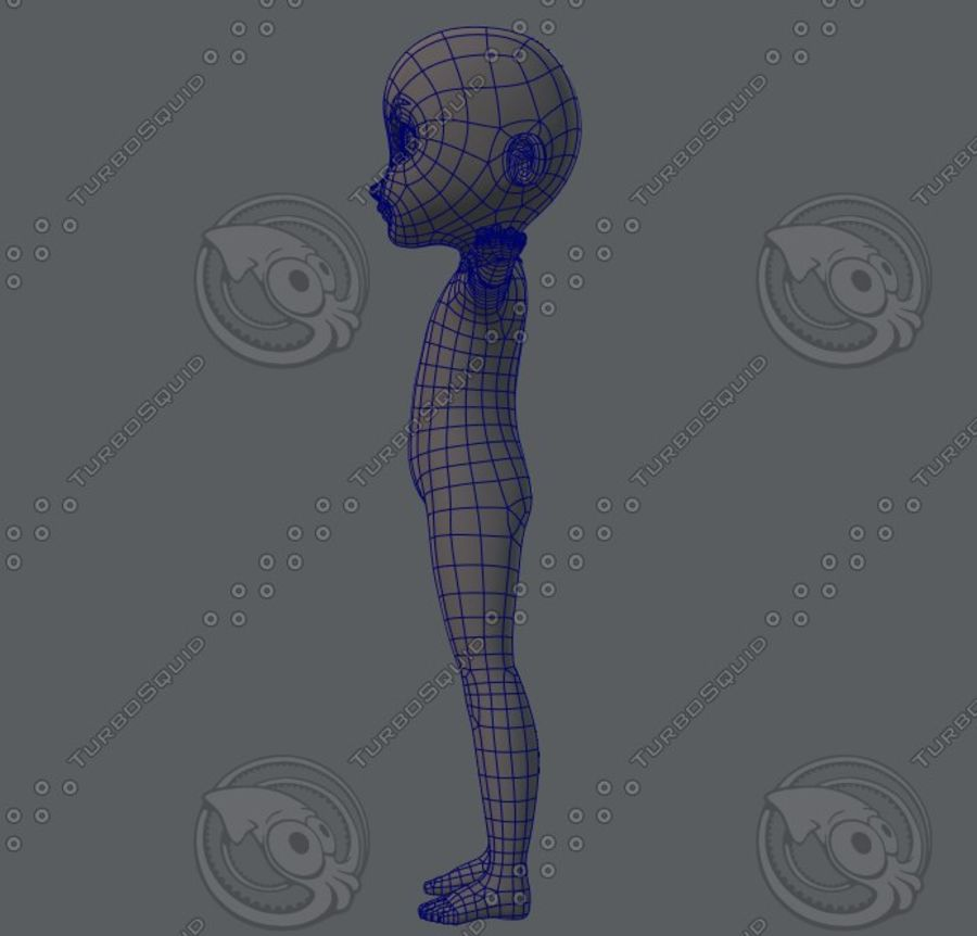 Base mesh boy character royalty-free 3d model - Preview no. 23
