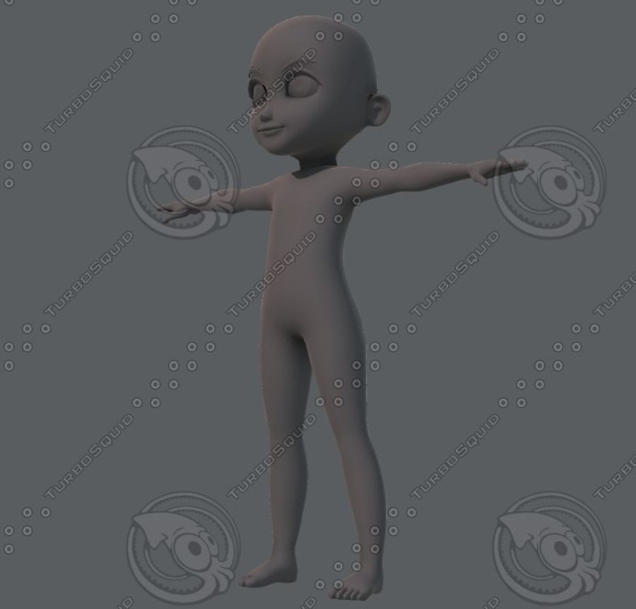 Base mesh boy character royalty-free 3d model - Preview no. 16